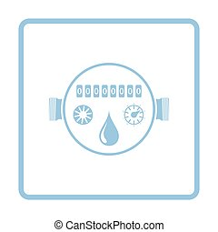 Water meter icon. Blue frame design. Vector illustration.