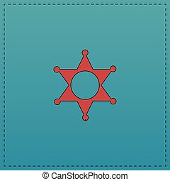 Sheriff star computer symbol - Sheriff star Red vector icon...