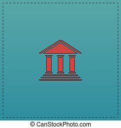 bank computer symbol - bank Red vector icon with black...