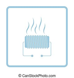 Electrical heater icon. Blue frame design. Vector...
