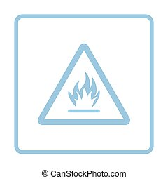 Flammable icon. Blue frame design. Vector illustration.