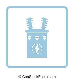 Electric transformer icon. Blue frame design. Vector...