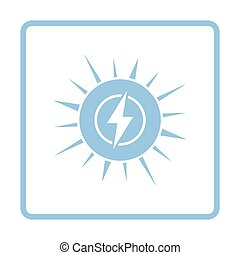 Solar energy icon. Blue frame design. Vector illustration.