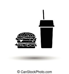 Fast food icon. White background with shadow design. Vector...