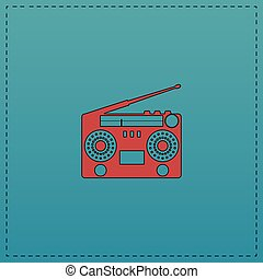 boombox computer symbol - boombox Red vector icon with black...