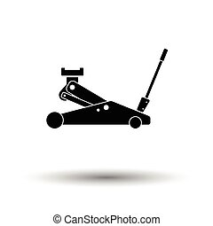 Hydraulic jack icon. White background with shadow design....