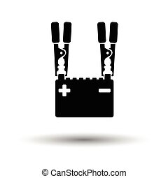 Car battery charge icon. White background with shadow...