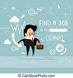 Business Man Find Job Curriculum Vitae Recruitment Candidate...
