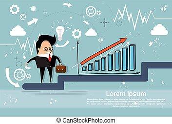 Businessman Climb Financial Bar Graph Business Man Growth Chart
