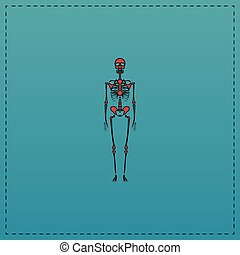 Skeleton computer symbol - Skeleton Red vector icon with...