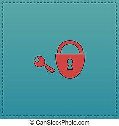 Padlock and key computer symbol - Padlock and key Red vector...