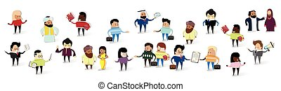 Group of Business People Cartoon Mix Race Businesspeople Set