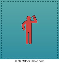 drunkard computer symbol - drunkard Red vector icon with...