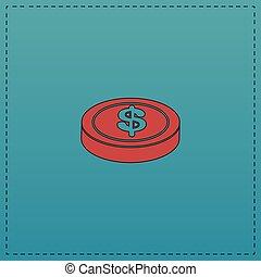 Casino chip computer symbol - Casino chip Red vector icon...