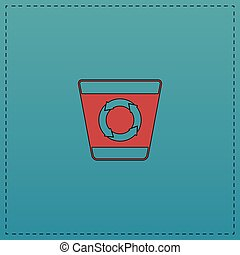 Recycle bin computer symbol - Recycle bin Red vector icon...