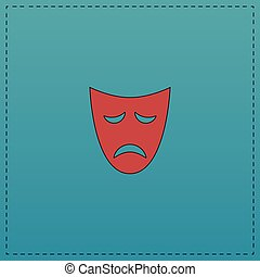 tragedy mask computer symbol - tragedy mask Red vector icon...