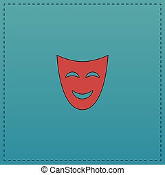comedy mask computer symbol - comedy mask Red vector icon...