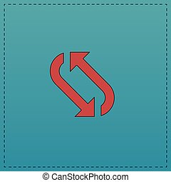 rotation computer symbol - rotation Red vector icon with...