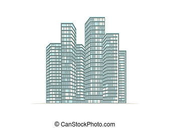 Illustration, high-rise buildings of the city.