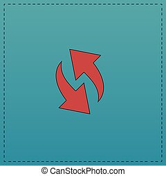 reload computer symbol - reload Red vector icon with black...