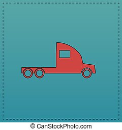 cargo truck computer symbol - cargo truck Red vector icon...