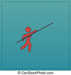 Pole vault computer symbol - Pole vault Red vector icon with...