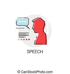 Speech Conference Meeting Business Seminar Icon Vector...