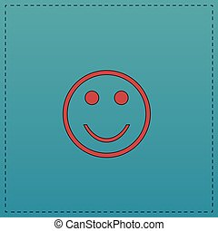 Happy face computer symbol - Happy face Red vector icon with...