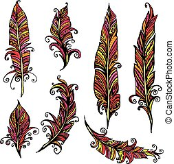 Set of ornamental Feather, tribal design. Ink hand drawn illustration with different indian feathers in red and yellow colors.