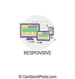 Responsive Design Phone Tablet Desktop Device Screen Icon...