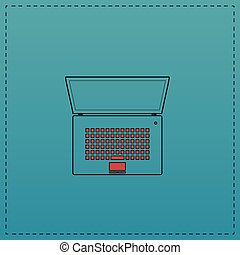 netbook computer symbol - netbook Red vector icon with black...