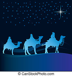 Wise men vector - Classic three magic scene and shining star...