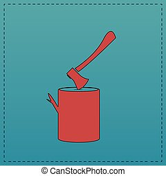 lumberjack computer symbol - lumberjack Red vector icon with...