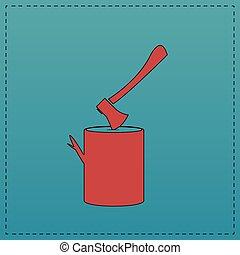 lumberjack computer symbol - lumberjack Red vector icon with...