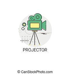 Retro Movie Projector Film Cinema Icon Vector Illustration