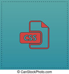CSS computer symbol - CSS Red vector icon with black contour...