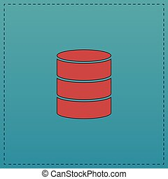 Database computer symbol - Database Red vector icon with...