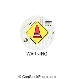 Road Reconstruction Caution Safety Sign Icon Vector...