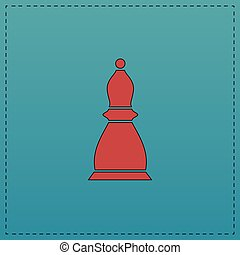 Chess bishop computer symbol - Chess bishop Red vector icon...