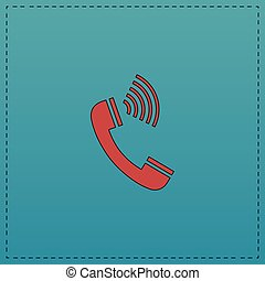 handset computer symbol - handset Red vector icon with black...