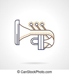 Abstract tuba flat line vector icon - Abstract symbol of...