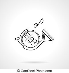 French horn flat line vector icon - Tunes of symphonic...