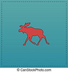 Moose computer symbol - Moose Red vector icon with black...