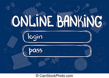 Online Banking Application Interface Concept Doodle Hand...