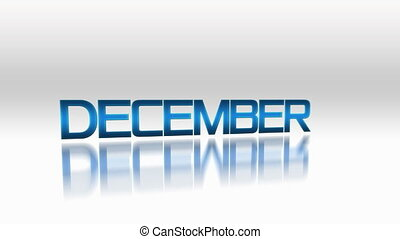 December January February blue glowing text flying on bright...