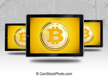 Buying Selling Bitcoin Concept. Tablet Computers with...