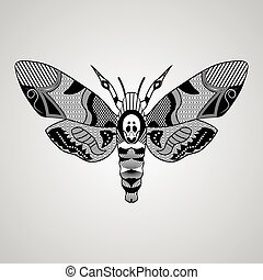 Moth Acherontia atropos, black and white drawing, hatched...