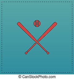 baseball computer symbol - baseball Red vector icon with...