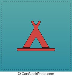Wigwam computer symbol - Wigwam Red vector icon with black...