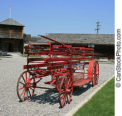 Old Fire Pumper - Vintage fire pumper in Historical Fort...